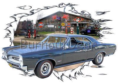 1966 Blue Pontiac GTO Custom Hot Rod Garage T-Shirt 66 Muscle Car (Hot Rod Gto)