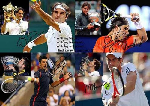 Roger-Federer-Rafael-Nadal-Djokovic-Murray-Tennis-Autograph-Signed-A4-Poster-2