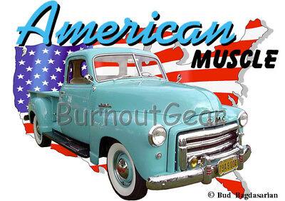 1948 Blue GMC Pickup Truck a Custom Hot Rod USA T-Shirt 48 Muscle Car Tees