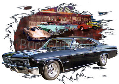 1966 Black Chevy Impala Custom Hot Rod Diner T-Shirt 66 Muscle Car Tees