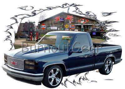 1994 Blue GMC Pickup Truck a Custom Hot Rod Garage T-Shirt 94 Muscle Car Tees