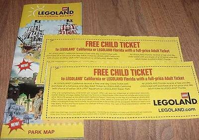 Two (2) Legoland KID KIDS CHILD Go Free California or Florida Good 12/31/2018
