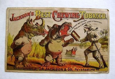 1870s  Jackson's Best Chewing Tabacco Trade Card w/ Rhino and Hippo