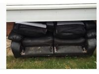 Leather two seater has had some wear but is very comfortable!!!