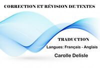 CORRECTION – RÉVISION – TRADUCTION  DE  TEXTES