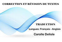 CORRECTION – RÉVISION – TRADUCTION  DE  TEXTES
