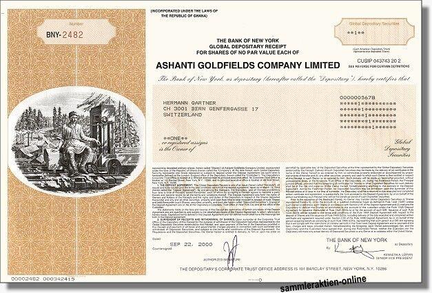 Neue Goldminen-Aktie aus dem Jahr 2000 der Ashanti Goldfields Company, Accra und New York