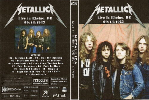 metallica live in rheine de. dvd 1985 slayer megadeth kreator