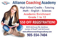 Private High School Credit Courses / Tutoring- 905-554-7404