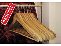 **REDUCED** Natural wooden clothes hangers, all matching with bar, FLAT, price for 10 but have more