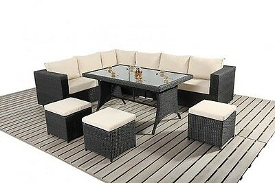 Garden Furniture - RATTAN GARDEN FURNITURE SOFA DINING TABLE SET CONSERVATORY OUTDOOR PATIO SET