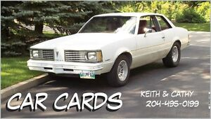 CAR CARDS is in Stonewall Sunday August 20th