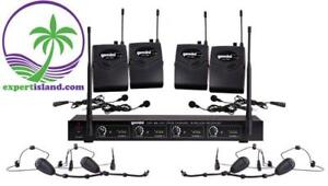 Gemini UHF-04HL Four Channel Headset / Lavalier Wireless UHF Microphone System