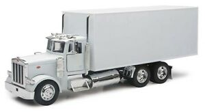 NEW-RAY-PETERBILT-379-BOX-TRUCK-SEMI-UTILITY-WHITE-NEW-1-32-10243