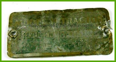 John Deere H Serial Number Tag Sn 16107 Hand Start Cast Iron Front Original