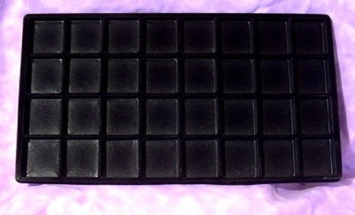 LOT OF 6  FLOCKED 32 COMPARTMENT BLK INSERT 14 X 7 1/2