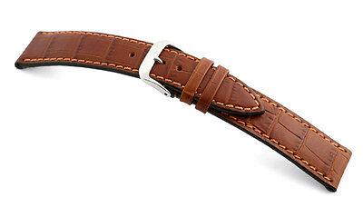 "RIOS1931 Germany Embossed Alligator Grain Watch Band 20 mm Cognac ""ORLANDO"""