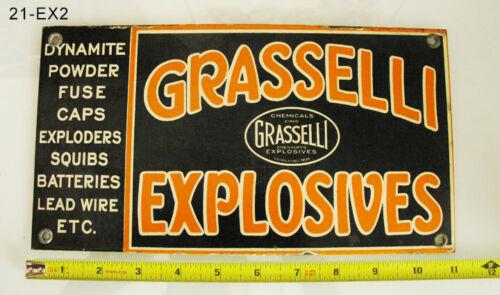 EXPLOSIVES SIGN - RARE GRASSELLI EXPLOSIVES ANTIQUE OLD STEEL PORCELAIN MINING