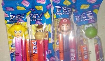 2017 Nintendo Pez Set of 4 Super Mario Yoshi Donkey Kong Princess Peach Sealed