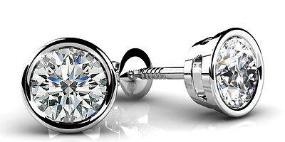 1.80 carat Round cut Diamond 14k White Gold Stud Earrings GIA I VS1 clarity 4