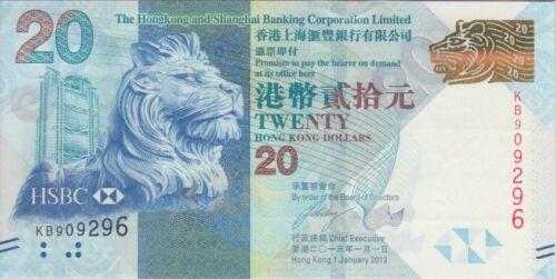 Hong Kong Banknote P212 20 Dollars HSBC 1.1.2013,  UNC