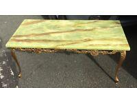 Superb onyx top wrath metal legs vintage table bargain