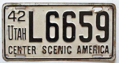 Utah 1942 CENTER SCENIC AMERICA License Plate, L6659