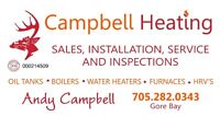 Oil Furnace, Boiler, water heater, Tanks, Duct Cleaning