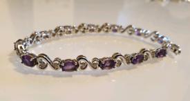 Beautiful H. Samuel Sterling Silver Amethyst and Diamond Bracelet