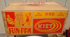 RARE 1960's VINTAGE KIST FUN-PAK 24-10 OZ. SODA POP BOTTLE CASE