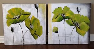 Two Green Abstract Flowers (Canvas) London Ontario image 1