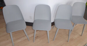4 very modern grey dining chairs, MINT condition