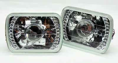 "7x6"" Halogen H4 LED DRL Clear Glass Projector Headlight Conversion Pair Chevy"