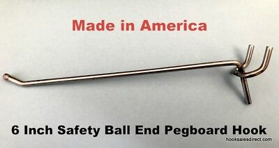 "(1000 PACK) USA Made 6 Inch Metal Peg Hooks For 1/8"" & 1/4"" Pegboard or Slatwall"