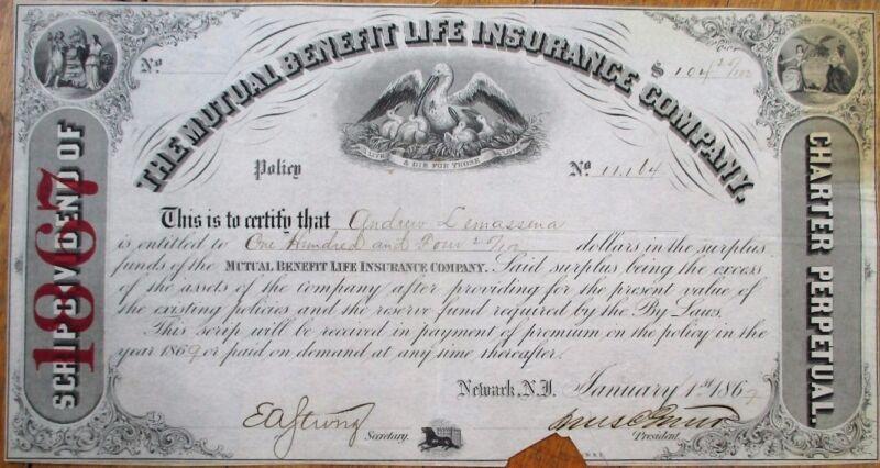 Mutual Benefit Life Insurance Co. 1867 Stock Certificate - Newark, New Jersey NJ