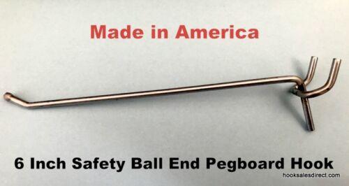 "(100 PACK) 6 Inch All Metal Peg Hooks 1/8 to 1/4"" Pegboard, Slatwall, Garage kit"