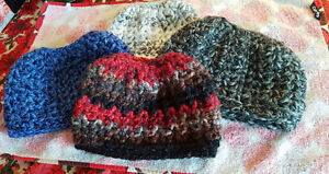 Messy Bun Crochet Hats - Variety of Colours Available