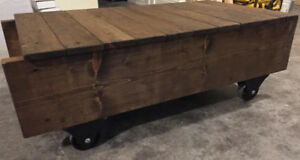 Handcrafted Rustic Luggage Cart Coffee Table Rustic Stain Finish