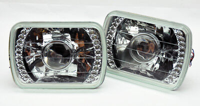 """7x6"""" Halogen H4 LED DRL Clear Glass Projector Headlight Conversion Pair Jeep"""