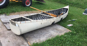 Square back canoe with ores
