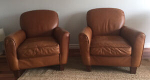 Two Leather Club Chairs