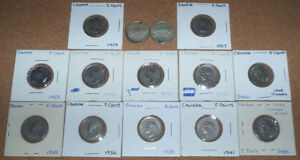 MIXED LOT OF 12 CANADIAN NICKELS & 2 CANADIAN QUARTERS