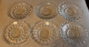Set of 6 Small Antique Heavy Crystal Saucers