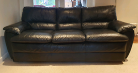 DELIVERY INCLUDED VGC genuine black thick leather 3 seater sofa