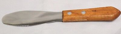 """Restaurant 6"""" Sandwich Dressing Spreader Knife - S/S with Wood Handle Serrated"""