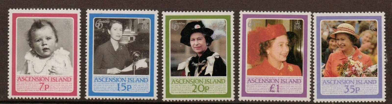 ASCENSION SG397/401 1986 60th BIRTHDAY OF THE QUEEN MNH