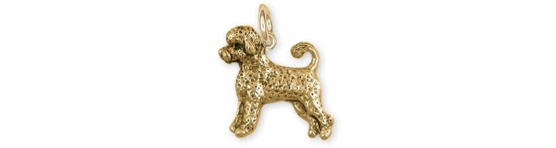 Portuguese Water Dog Jewelry 14k Gold Handmade Portuguese Water Dog Charm  PWD3-