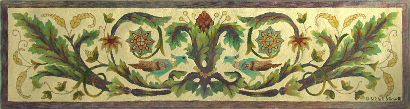 """Rug Hooking Pattern """"BASQUE FAIRY TALE""""  on natural linen"""