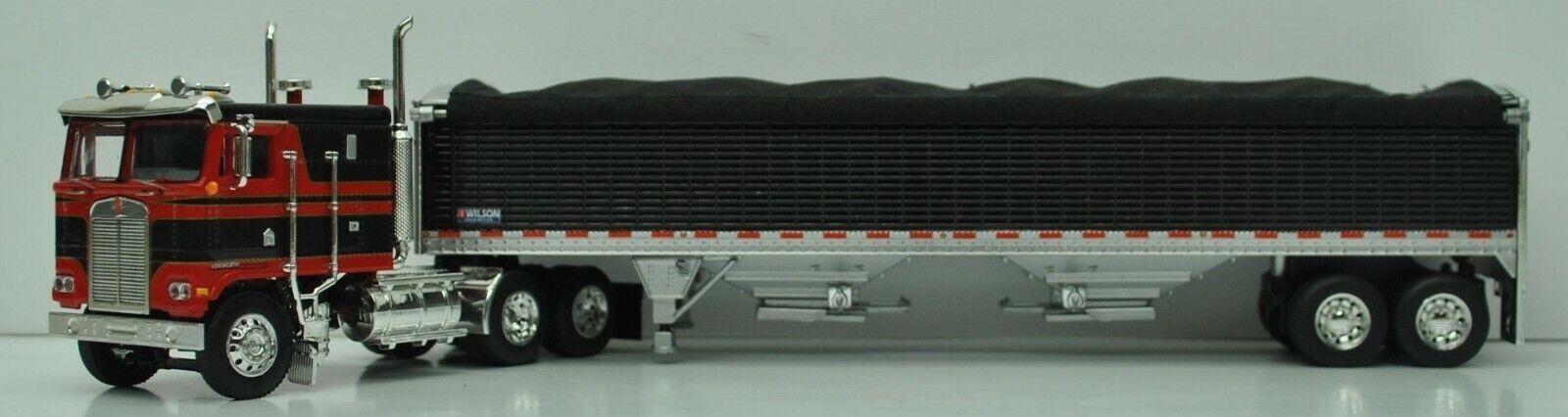DCP RED BLACK KENWORTH K-100 110 CAB WILSON HIGH BOTTOM GRAIN TRAILER 60-0903