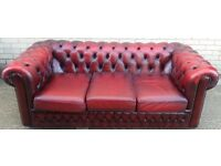 Leather Oxblood 3 Seater Chesterfield Sofa, Ref: 4